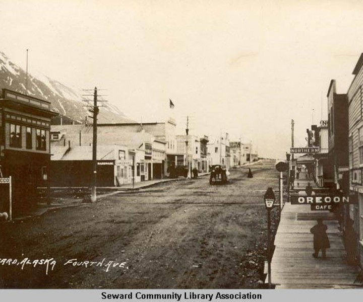 A northward view of Fourth Avenue in Seward, Alaska in the early 1900s. (SCLA 1-216)