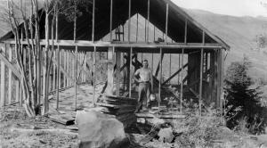 """Working on the Manitoba ski area lodge in the summer of 1942 (Clarence """"Buster"""" McClellan)"""